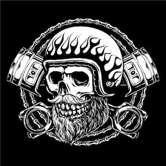 Skull rider motorfiets met retro helm, zuigers en kettingen achtergrond