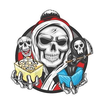 Skull santa claus brengt schedel en grim reaper voor een geschenk op kerstmis