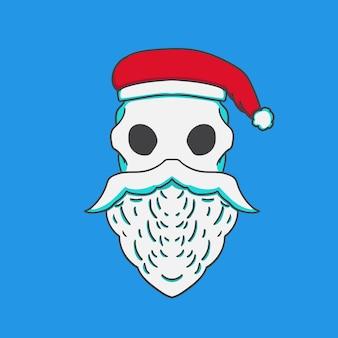 Skull santas handgetekende illustratie nieuwjaar en kerstmis