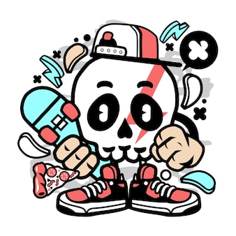 Skull skater cartoon