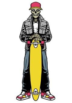 Skull skater in stijl poseren houdt het longboard vast