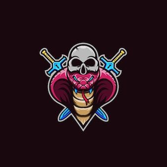 Skull snake vector logo geweldig