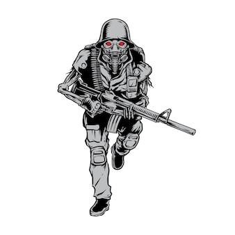Skull soldier army brengt pistool