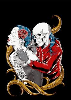 Skull tattoo illustratie hand tekenen