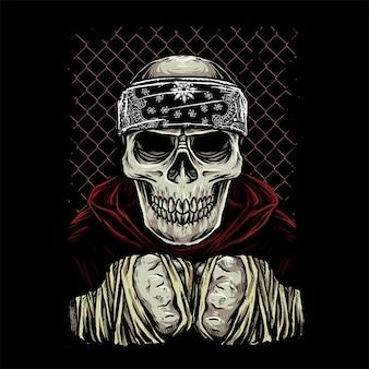 Skull vechter met bandana en capuchon