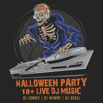Skull zombie dj muziek halloween partij in de donkere nacht