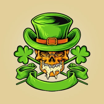 Skulll-mascotte voor st. patricks beer day-illustraties