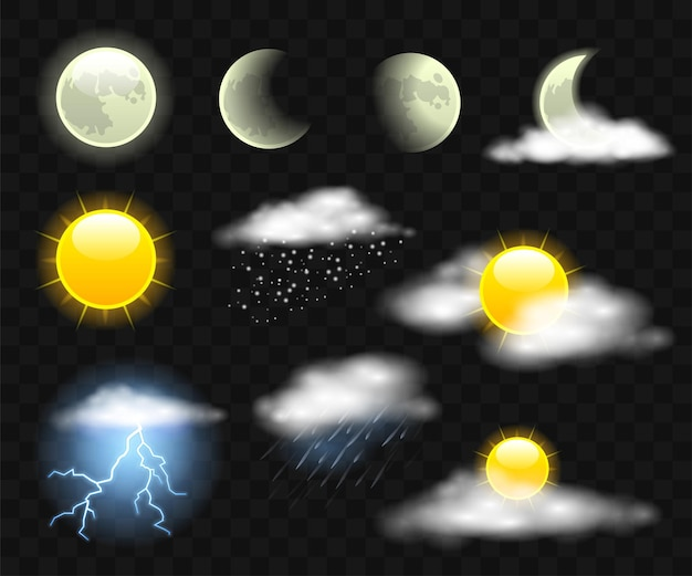 Sky elements realistische moderne vector set van verschillende natuurlijke fenomenen