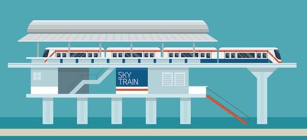 Sky treinstation platte ontwerp afbeelding achtergrond