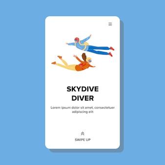 Skydive-duikers die met parachute naar beneden vliegen