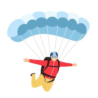 Skydiver geïsoleerd. ontspannen parachutist geïsoleerd op een witte achtergrond, parachutespringen man in de lucht, parachute levensstijl vrijetijdsbesteding en mensen avontuur, vector illustratie