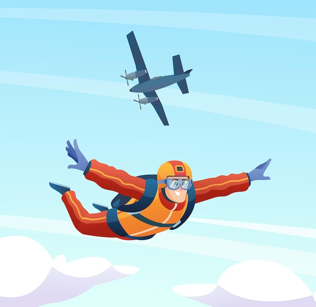 Skydiver springt uit het vliegtuig en parachutespringen in de lucht illustratie
