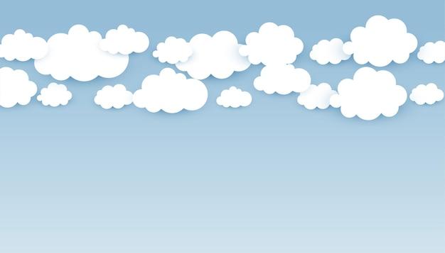 Skye-behang met donzige wolken