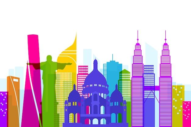Skyline bezienswaardigheden kleurrijk
