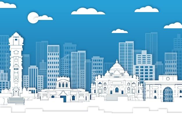 Skyline van ahmedabad in papierstijl