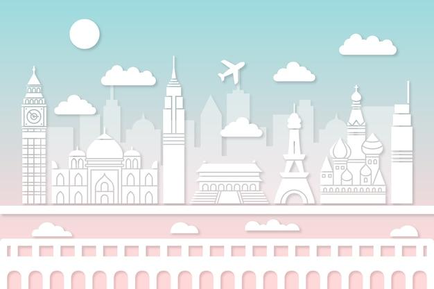 Skyline van bezienswaardigheden in papierstijl