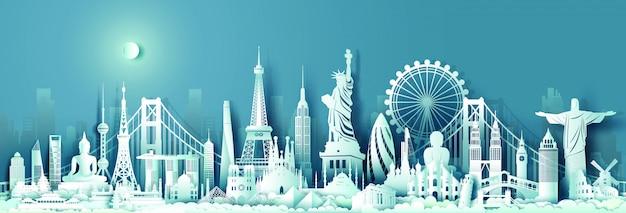 Skyline van bezienswaardigheden van wereld reizen monument