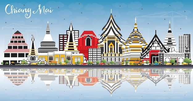 Skyline van chiang mai thailand met kleur gebouwen, blauwe lucht en reflecties. vectorillustratie. zakelijk reizen en toerisme concept met moderne architectuur. chiang mai stadsgezicht met monumenten.