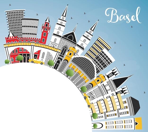 Skyline van de stad basel zwitserland met kleur gebouwen, blauwe lucht en kopie ruimte. vectorillustratie. zakelijk reizen en toerisme concept met historische architectuur. basel cityscape met monumenten.