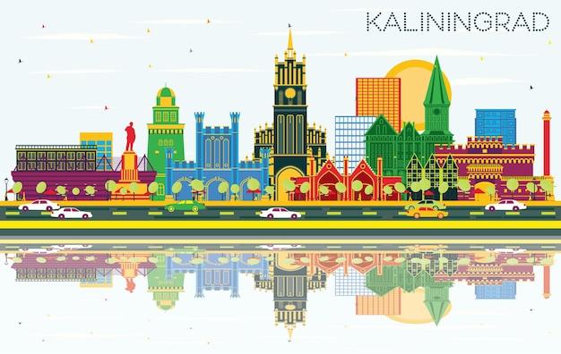 Skyline van de stad kaliningrad rusland met kleur gebouwen, blauwe lucht en reflecties. illustratie