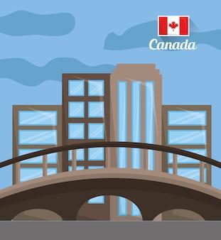 Skyline van de stad met bezienswaardigheden montreal canada