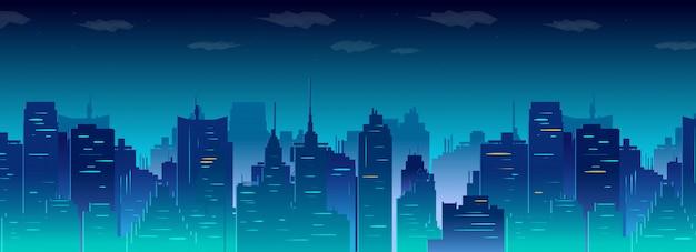 Skyline van de stad nacht