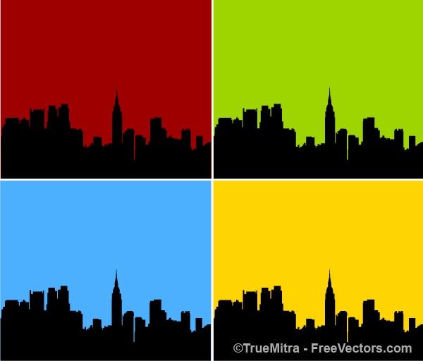 Skyline van de stad silhouet