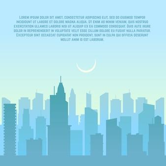 Skyline van de stad, stadsgezicht sjabloon