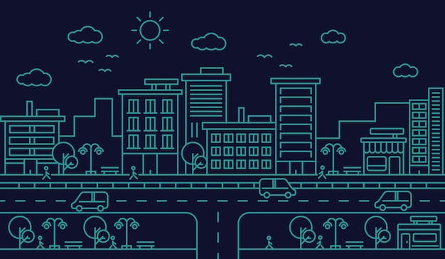 Skyline van de stad straat weg lijn ontwerp illustratie
