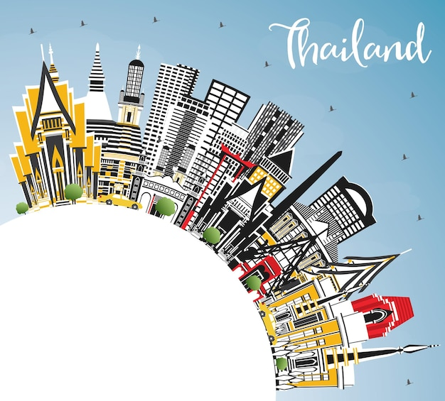 Skyline van de stad van thailand met kleur gebouwen, blauwe lucht en kopie ruimte. vectorillustratie. toerismeconcept met historische architectuur. thailand stadsgezicht met monumenten.