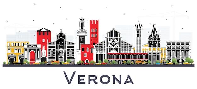 Skyline van de stad van verona italië met kleur gebouwen geïsoleerd op wit. vectorillustratie. zakelijk reizen en toerisme concept met historische architectuur. verona stadsgezicht met monumenten.