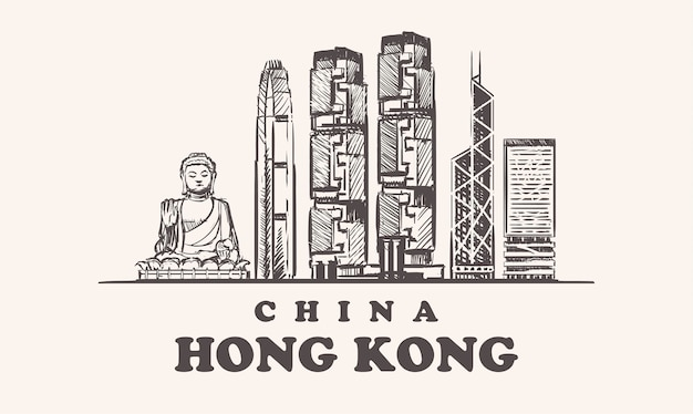 Skyline van hong kong, china vintage illustratie, met de hand getekende gebouwen van de stad hong kong, op witte achtergrond.
