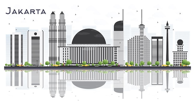 Skyline van jakarta indonesië met grijze gebouwen en reflecties geïsoleerd op een witte achtergrond