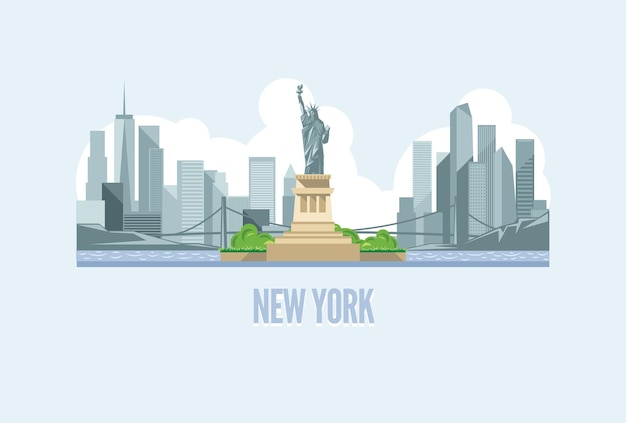 Skyline van new york city in verenigde staten illustratie