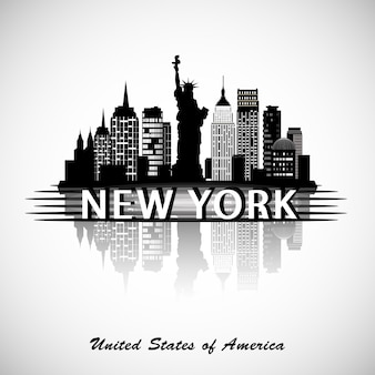 Skyline van new york city. new york stadssilhouet. vecror illustratie.