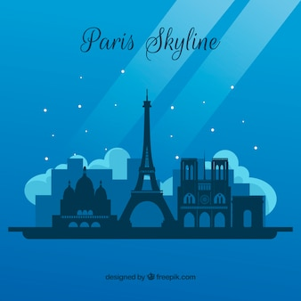 Skyline van parijs in de nacht