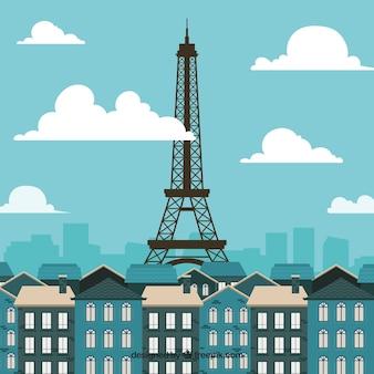 Skyline van parijs in platte ontwerp