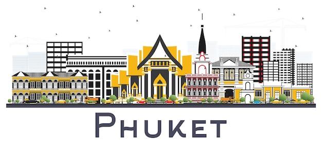 Skyline van phuket thailand met kleur gebouwen geïsoleerd op wit. vectorillustratie. zakelijk reizen en toerisme concept met moderne architectuur. phuket stadsgezicht met monumenten.