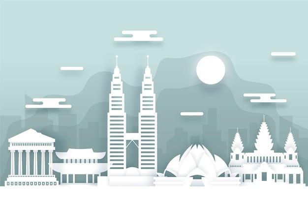 Skyline van reisoriëntatiepunten in papierstijl