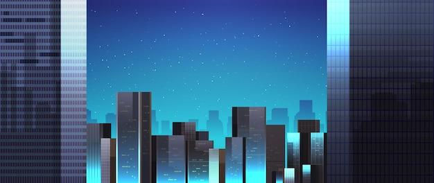 Skyline van stadsgebouwen 's nachts illustratie