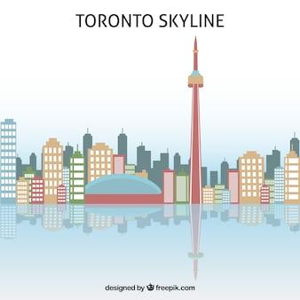 Skyline van toronto in plat ontwerp
