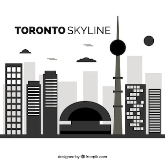 Skyline van toronto in vlakke stijl