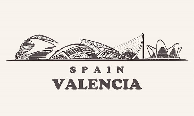 Skyline van valencia, spanje vintage illustratie, city of the arts and sciences hand getekende gebouwen