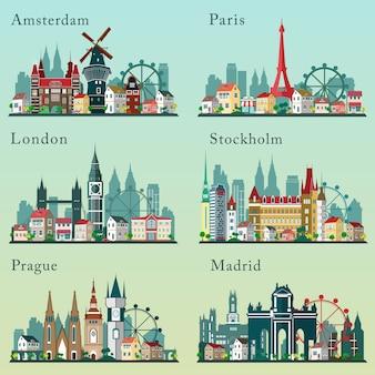 Skylines van steden ingesteld. vlakke landschappen. stadsgezichten van europese steden