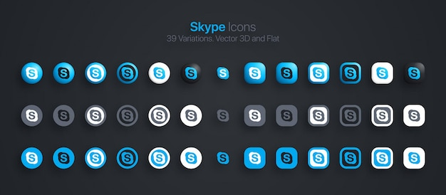 Skype-pictogrammen instellen modern 3d en plat in verschillende variaties