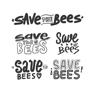 Sla de bijen belettering geïsoleerd op een witte achtergrond. hand tekenen opslaan bijen offerte. bewaar het concept van het bijenkalligrafieelement.
