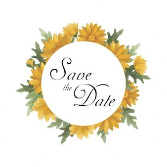 Sla de datum sjabloon met aquarel stijl zonnebloem