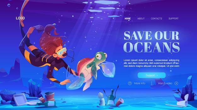 Sla onze oceanen-bestemmingspagina op