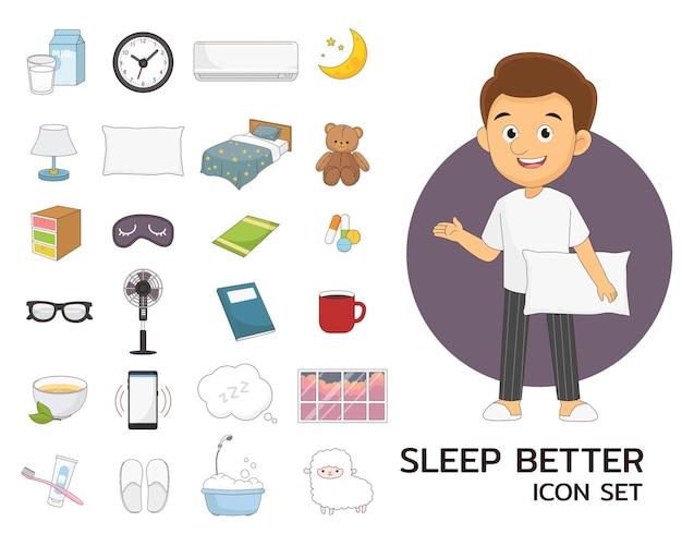 Slaap beter concept plat pictogrammen