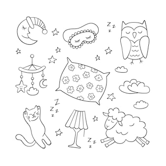 Slaap in doodle stijl. welterusten - maan, lamp, slapende kat, kussen en meer. hand getekende illustratie op witte achtergrond